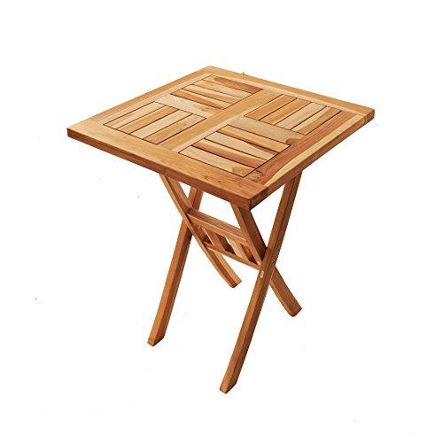 SAM Teak-Holz Balkontisch Square, 60 x 60 cm, klappbar, für Balkon, Terrasse oder Garten