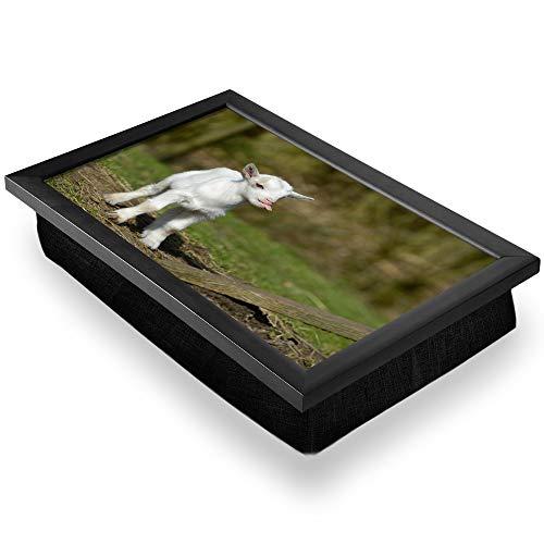 Bandeja de regazo de lujo, cómoda, funcional portátil, puf – Lindo blanco bebé cabra granja granja diversión #8650