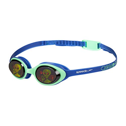 Speedo Illusion Junior Gafas de natación, Hombre, ultrasonic/Verde Falso/Alien Hologram, One Size