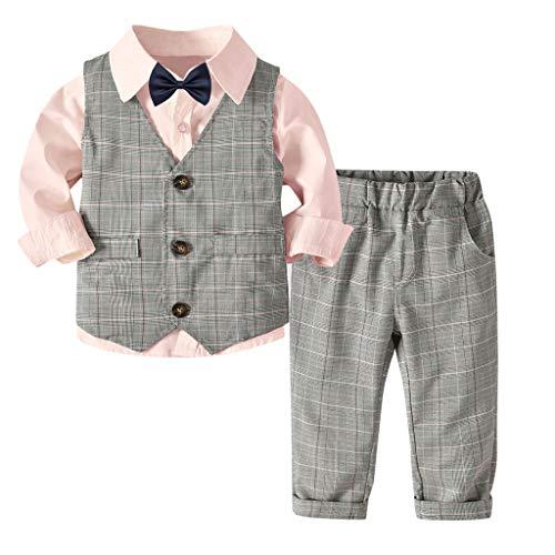 MRULIC Baby Junge Bowtie Gentleman Weste T-Shirt Hosen Hochzeit Anzug Tuch Sets(A-Rosa,Höhe:120-130CM)