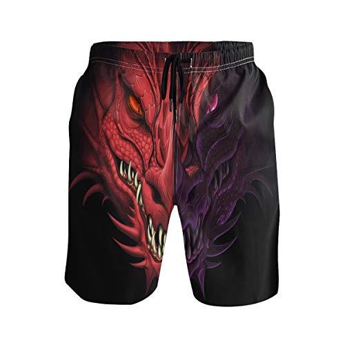 SENNSEE Red Dragon Schwarze Badehose für Herren Jungen Quick Dry Beach Shorts mit Taschen Kordelzug Gr. Verschiedene Größen, mehrfarbig