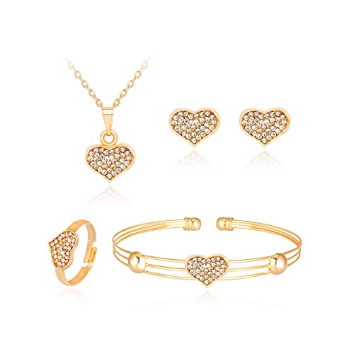 Dcfywl731 Exquisite Gold Crystal Queen Princess Crown Necklace Earring Bangle Ring Jewelry Set for Girls (Heart Set)