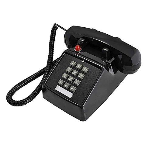 LIUNA Botón Pulsador De Estilo Retro De Los Años 1976 Teléfono Fijo Teléfono Antiguo Sonido Mecánico Americano Teléfono De Moda Creativo Negro(Color:Negro)