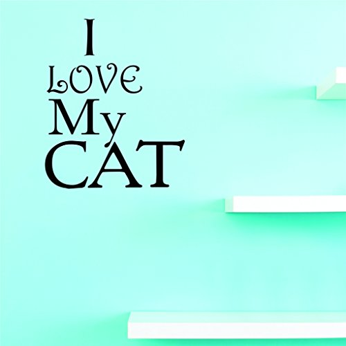 Motif Vinyle Avec 2 recharges de 2207 2 Hot nouveaux Stickers I Love My Cat Art mural Taille : 40,6 x 61 cm Couleur, 40,6 x 61 cm, Noir