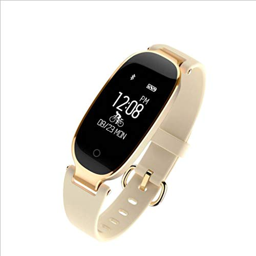 XUANLAN Braccialetto Intelligente Multifunzionale del Braccialetto del pedometro di Sport dell'orologio di frequenza cardiaca delle Donne Intelligenti del Braccialetto di Sport (Color : Beige)
