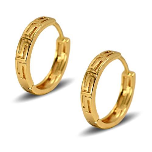 Blue Diamond Club - Pair 18ct Yellow Gold Filled Womens Slim Small Hoop Earrings Greek Key Pattern 15mm