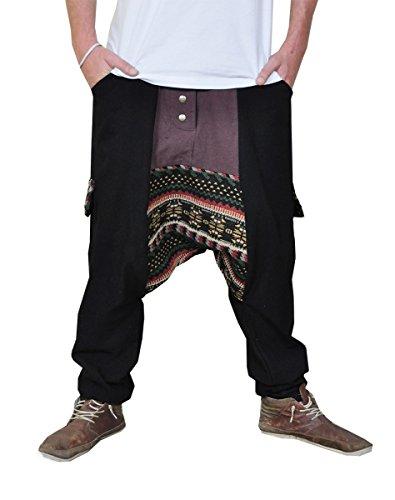 virblatt Pantalones cagados Jersey Largo en 2 Colores con una Entrepierna Baja como Ropa Hippie y Pantalones Bombachos para Trotar M - Abwechslungsreich