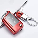 UNJ Für PC + TPU Auto Schlüsselhülle Abdeckschale Für Volkswagen Vw Passat Golf 7 Polaris Tiguan L Sitz Ibiza Leon FR 2 Altea Aztec Skoda Octavia,B-roter Schlüsselb&