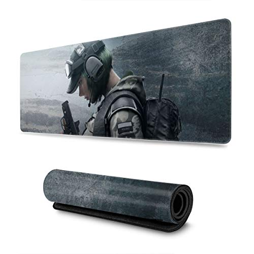 FPSMOUPD Mouse Pad Gaming Large Ela-Rainbow Six Siege Extended Mouse Pad with Stitched Edges Non-Slip Rubber Base 31.5' x 11.8' x 0.12'