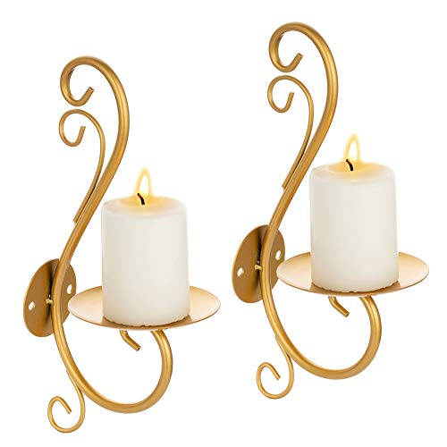 Sziqiqi Wall Mounted Metal Candle Sconces Holders Set of 2 Iron Wall Sconce Candle Holder for Wall, Gold Pillar Candleholders Candlestick Holder for Living Room Bedroom Bathroom Decoration