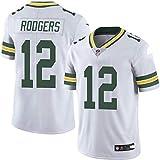 WQJIE T-Shirt à Manches Courtes pour Hommes Chemise Uniforme de Football Green Bay Packers 12# Aaron Rodgers Maillots de Rugby Uniformes T-Shirts White-XXXL