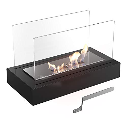KRATKI Galina Ethanol Fireplace, Free-Standing Real fire Fireplace with TÜV Certificate | Fire line 13 cm, Dimensions in cm: H21.80 x W35.40 x D18