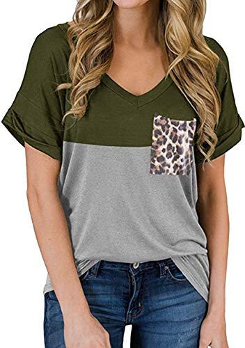 OMZIN Damen Blusen Kurzarm Freizeitshirt Bluse Basic Bequem T Shirt Armeegrün S