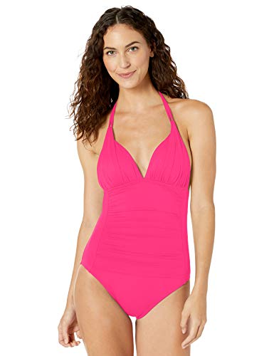 La Blanca Women's Island Goddess V-Neck Halter Mio One Piece Swimsuit, Pink, 2
