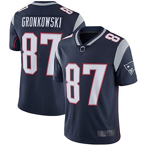 Herren T-Shirt American Football Uniform New England Patriots #87 Gronkowski Football Trikots Gruby Tee Shirts Gr. M, navy