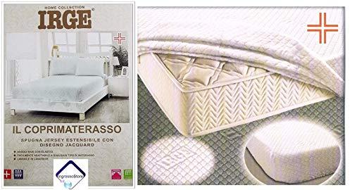 Coprimaterasso 1 piazza e mezza IRGE Spugna Jacquard 135x200cm angoli maxi con elastici