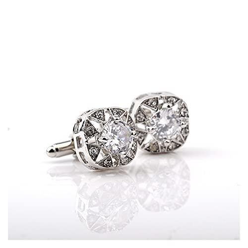 feichang Gemelos de moda de lujo de cristal, opción de gemelos de alta calidad, diseño de diamantes de imitación (metal plateado).