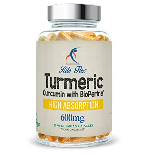 Turmeric Curcumin 600mg Supplement with 50 mg Additional Curcumin by Rite-Flex w/BioPerine - Non-GMO and Gluten Free - 180 Easy-to-Swallow Vegan Capsules (600 mg)