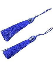 20pcs 15.5cm / 6 Pulgadas Seda Seda Marcador Tages con 2-pulgadas Cord Loop y Pequeño Nudo Chino Para la Fabricación de Joyas, Recuerdo, Marcadores, Accesorio de Arte DIY (Azul Marino)