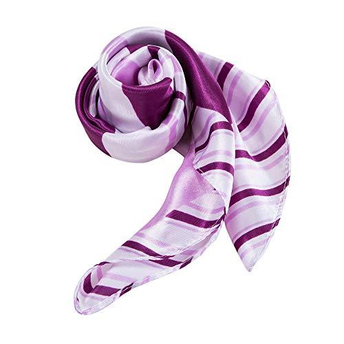 Alberto Cabale Foulard Carré Soie Femmes Accessoire Bandeau pour Tête Cheveux Cou Epaules ou Sac à Main Ceinture avec sa Pochette Cadeau couleur Creme Violet