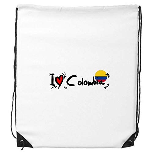 DIYthinker Ich Liebe Kolumbien Wort Flag Love Heart Illustration Rucksack-Shopping Sport Taschen Geschenk