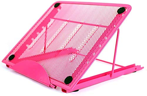 BUSUANZI Laptop Stand Tablet,Foldable Portable Ventilated Desktop Notebook Riser Holder, Universal Lightweight And Adjustable Ergonomic Cooling Stand Fit,Pink