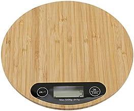 Vaorwne Balance de cuisine électronique, 1 LED, instrument de mesure pour la cuisine, la balance de cuisine en bambou, ron...