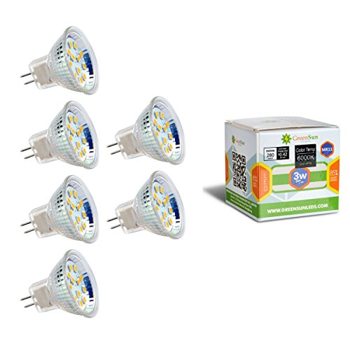 GreenSun 6X AC/DC 12V MR11 GU4 3W 12*2835SMD LED Spot Gluehbirne Strahler Lampe Leuchte Warmweiss