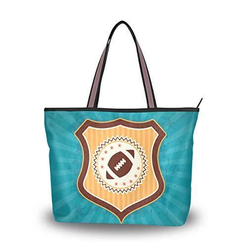 LORONA Frauen American Football Retro Abzeichen Emblem Leinwand Schulter Handtasche Large Capacity Einkaufstasche