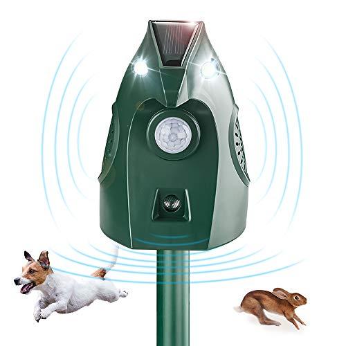SOYAO Auyentadores de Pajaros - Solar Repelente para Gatos, Ultrasónico Repelente Jardin Repelente de Animales con Sensor IR de Frecuencia LED para Gatos, Ratones, Perros, Zorros, Pájaros