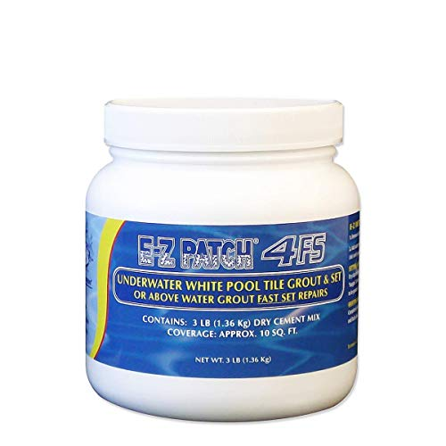 E-Z Patch 4 Fast Set Underwater or Above Water Pool Tile Grout Repair Kit - White Grout Matches Original Sanded Pool Tile Grout, Formulated For Fast Grout Repair - 3 Pounds