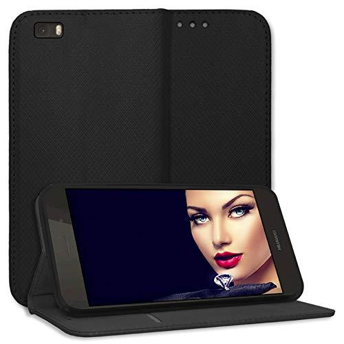 mtb more energy® Schutz-Tasche Bookstyle für Huawei P8 Lite (ALE-L21. / BJ 2015/5.0'') - schwarz - Kunstleder - Klapp-Cover Hülle Wallet Case