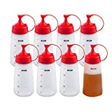 8 Pack 10 oz/300ml Plastic Squeeze Condiment Bottles with Cap Lids,Kitchen Sauce Bottles for Ketchup, BBQ Sauces, Salad Dressings and More