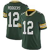LAVATA Herren Kurzarm T-Shirt Fußballuniform Trikot Green Bay Packers 12# Aaron Rodgers Rugby Uniform Trikots T-Shirts