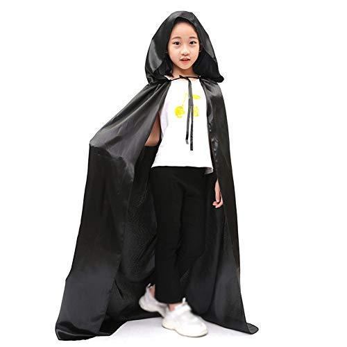 Cosanter Halloween Umhänge Mäntel für Kinder Junge und Mädchen Make-up Party Kostüm Schwarz Größe-S 120 cm