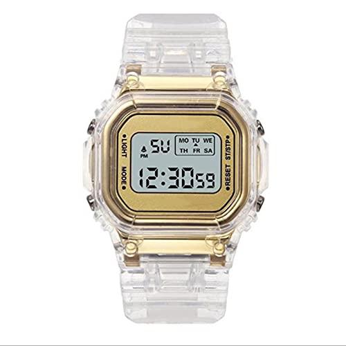 WEFH Relojes electrónicos de Moda Cronógrafo Deportivo Impermeable Digital Transparente, Dorado