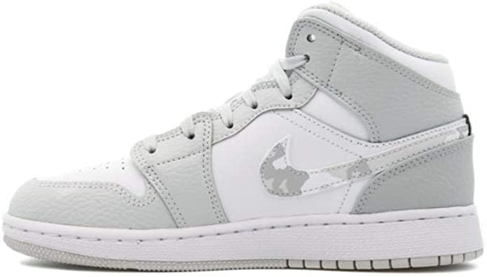 Amazon.com | Jordan AIR 1 MID SE GS - DD3235 100 - White Grey Camo ...