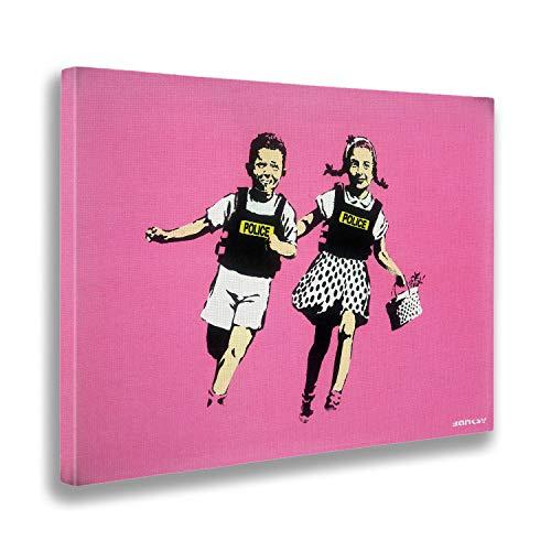 Giallobus - Schilderij - Canvasdruk - Verf klaar om op te hangen - Banksy - Jack en Jill, politiekinderen, roze - Moderne schilderijen voor thuisgebruik - Diverse maten XXL - 100x70 cm