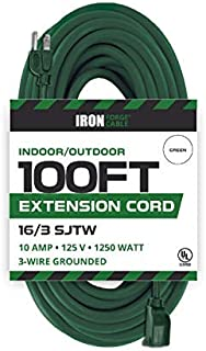 100 Foot Outdoor Extension Cord - 16/3 SJTW Durable Green Extension Cable with 3 Prong Grounded Plug for Safety - Great for Christmas Lights and Major Appliances