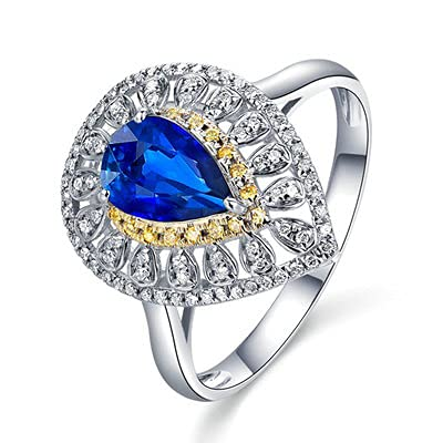 Bishilin Oro Blanco de 18 K y Oro Amarillo de 18 K, Azul Eye Corte de Pera Stein 0.6 Zafiro Anillo de Compromiso de Matrimonio Oro Blanco de 18 K y Oro Amarillo de 18 Ktamaño: 20