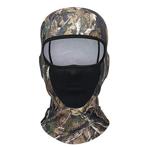 TAGVO Mascara de Caza pasamontañas, Camuflaje a Prueba de Viento pasamontañas Gorra táctica Sombreros, Malla Forro de Cascos para Adultos Mujeres y Hombres tamaño Universal elástico