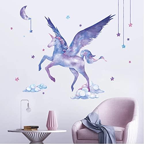 Romántico cielo estrellado unicornio pegatinas de pared habitación de los niños calcomanías de vinilo desmontables decoración de la habitación de los...