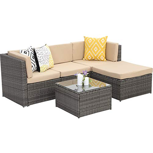 Wisteria Lane Outdoor Sectional Patio Furniture,5 Piece Wicker Rattan Sofa Couch...