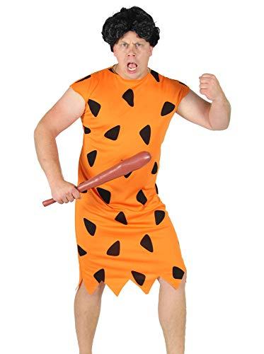 Foxxeo orange schwarzes Steinzeit Herren Kostüm für Fasching und Karneval Paarkostüm Partnerkostüm Erwachsene Größe XXXL