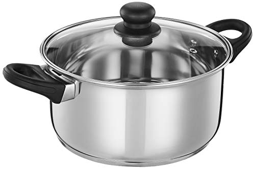 Amazon Brand - Solimo Stainless Steel Induction Bottom Dutch Oven with Glass...