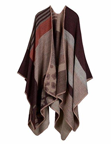 EMMA Damen Winter Plus Size Poncho Cape Decke Cardigans Winter Offen Vorne Kashmir Schal Frauen Strickjacke Modisch Kariert Wrap Umschlagtuch Pullover Fledermaus Cape Mantel(MC-7)