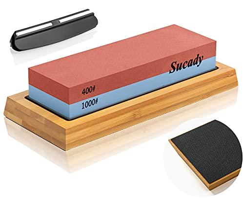 Wetzstein Schleifstein Messer 1000 400, Professionell 2-in-1 Doppelseitiger Messerschärfer für Küchen, Wasserstein mit Eckführung, Rutschfestem Silikonhalter, Abziehstein für Küchemesser/Jagdmesser