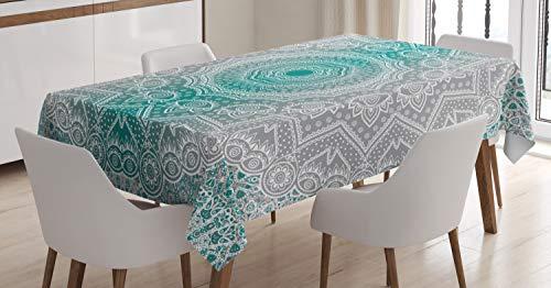 ABAKUHAUS Gris y Verde Azulado Mantele, Mandala Oculta Motif, Estampa Personalizada Vívida No Destiñe Apto Uso Exterior, 140 x 240 cm, Teal Gris