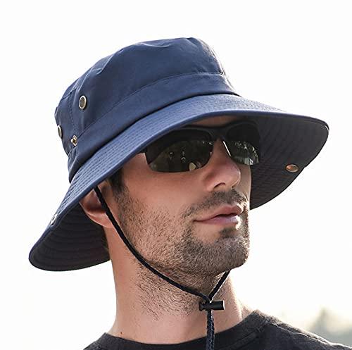 LONGSAND Sombrero de protección UV para el Sol Gorra de Pescador Ajustable para Sombrero Plegable Unisex con Correa para la Barbilla Sombrero de Vaquero Transpirable para Exteriores,Azul,56~58cm