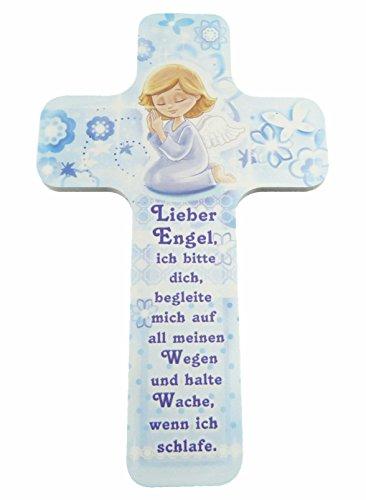 """Kinderkreuz / Taufkreuz für Jungen (hellblau) und Mädchen (rosa) als ideales Taufgeschenk, Konfirmation, Kommunion, Firmung, Jugendweihe mit """"Lieber Engel begleite mich …"""" im Kinderzimmer an Schrank, Tür oder Wand aufhängen - aus unserer Reihe Kinderkreuze und Geschenke zur Geburt & Taufe (BLAU))"""